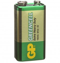 Батарейка Крона GP GREENCELL Extra Heavy Duty 6F22, 1 шт, 9V (1604GLF-S1)